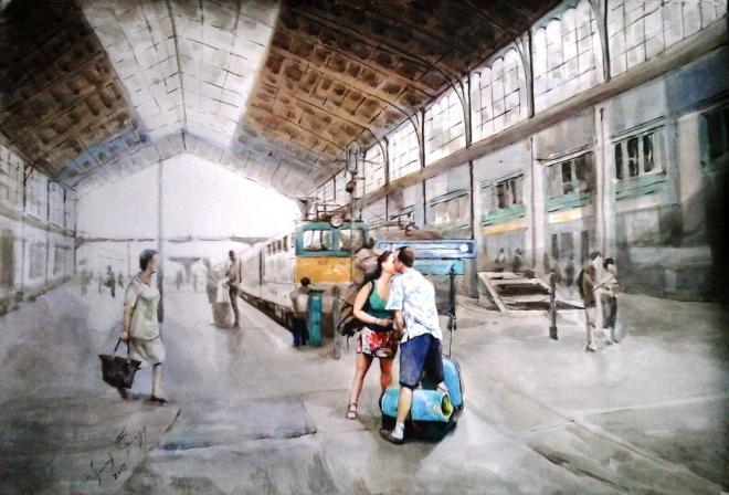 Картина Венгерский вокзал, поцелуй.