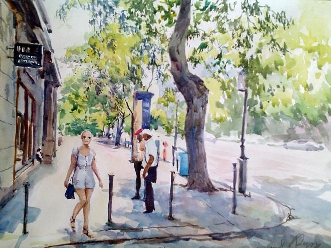 Площадь Ф. Листа. Венгрия. Гуляющая девушка.