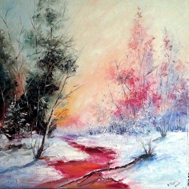 Картина маслом на холсте Зима