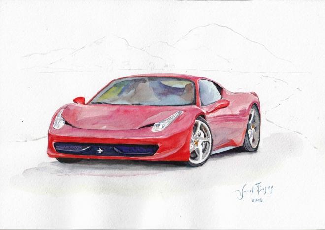 Red Ferrari 458.