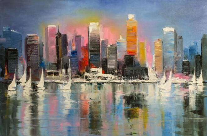 Картина на холсте Городское побережье