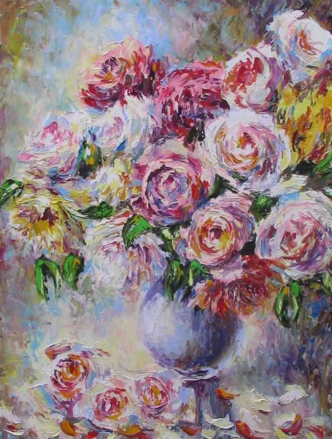 Картина маслом Розовый узор