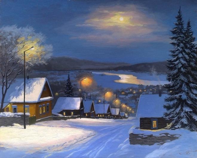 Зимний вечер в уральском селе