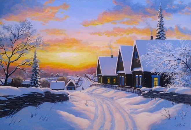 Закат над селом