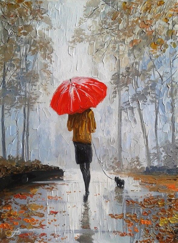 Картина на холсте Девушка под зонтиком