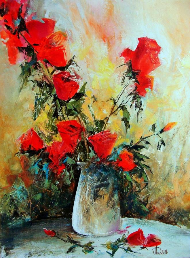 Картина маслом на холсте Розы в белой вазе