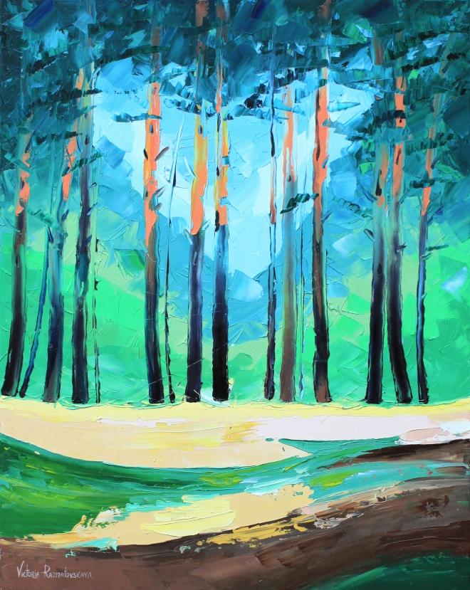 Картина маслом на холсте Прозрачный лес