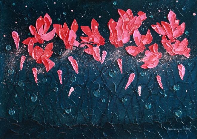 Картина маслом на холсте Цикламены