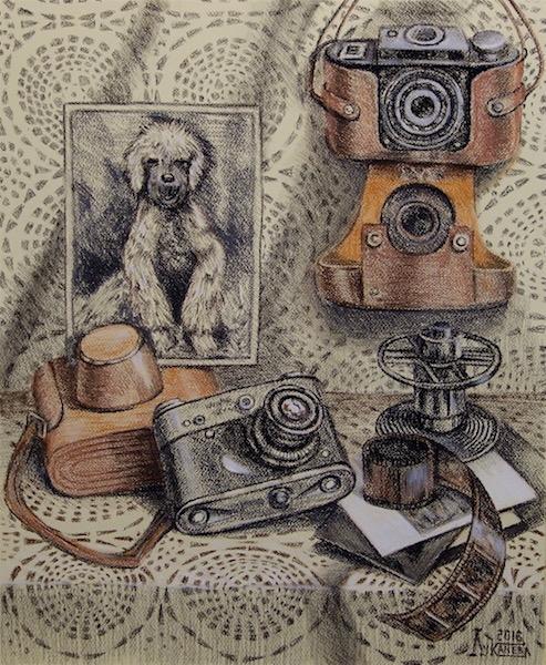 Картина Натюрморт со старыми фотоаппаратами
