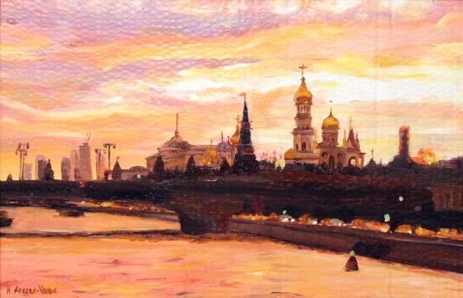 Картина маслом Город золотой