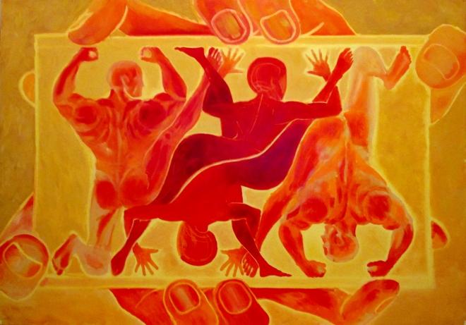 Картина маслом Война лемурийцев и инопланетянами