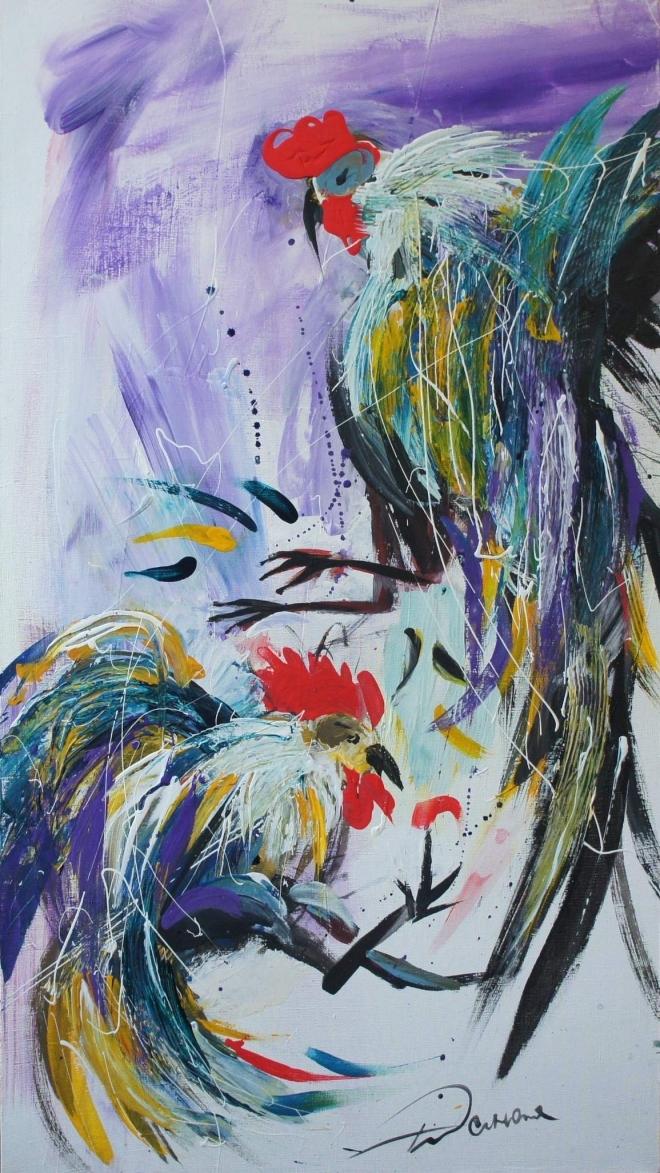 Картина Петушиный бой. Фиолетово-мятный