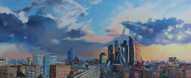 Картина маслом Москва-Сити