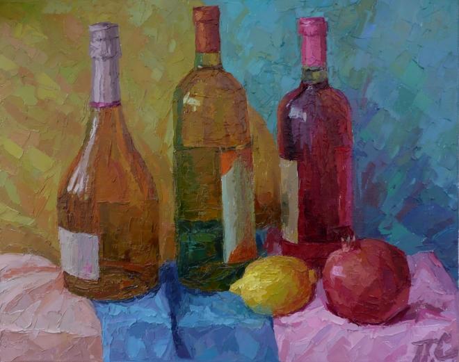Картина маслом на холсте Розовое вино.