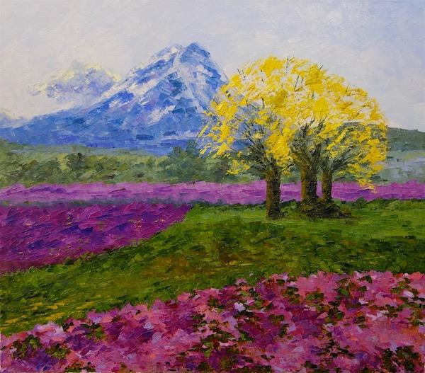 Картина маслом Парк лилового цветения