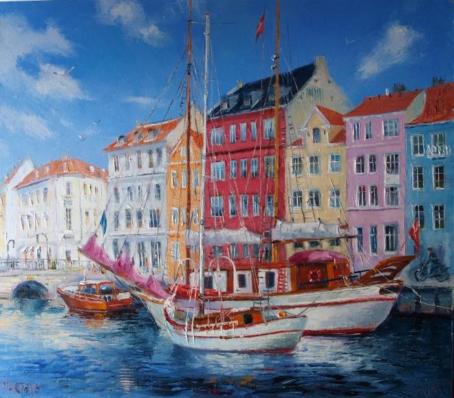 Солнце в гавани Копенгагена