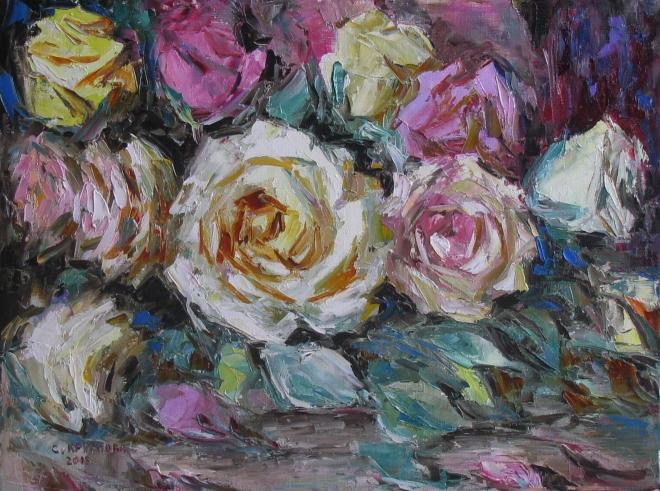 Картина маслом Розовый поток