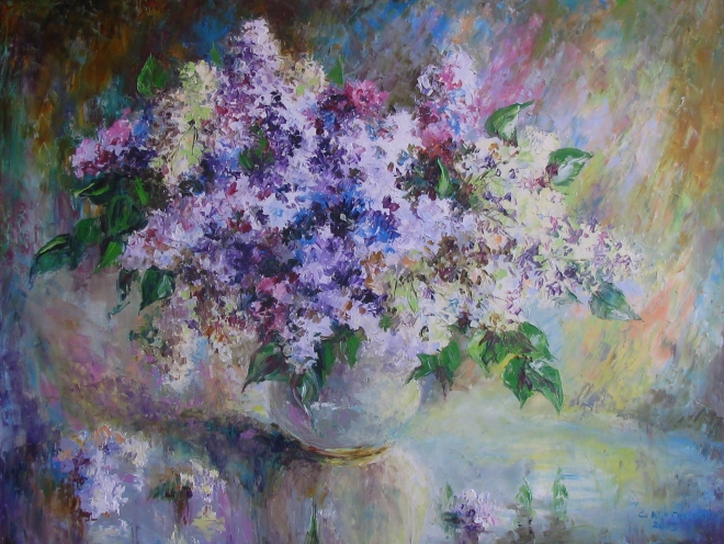 Картина маслом Фиолет сирени