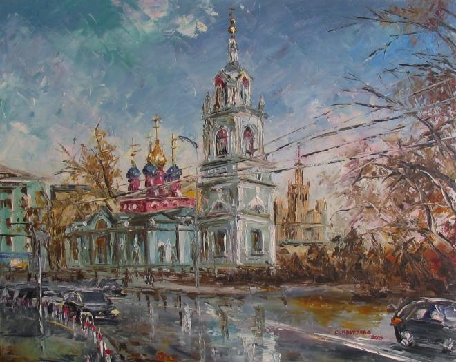 Картина маслом Варварка. Церковь Георгия Победоносца на Псковской горе