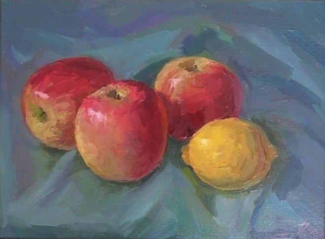 Картина маслом на холсте Яблочки,лимончики.
