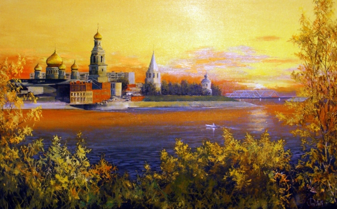 Картина маслом на холсте Утро любимого города