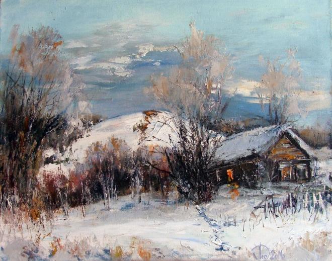 Картина маслом на холсте Полужилой дом