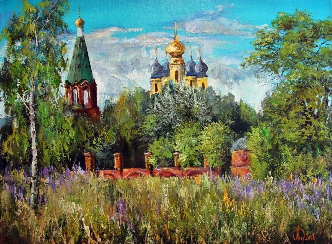 Картина маслом на холсте Село Горицы