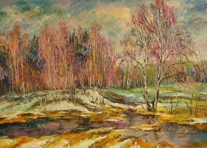 Картина маслом Весна в лесу
