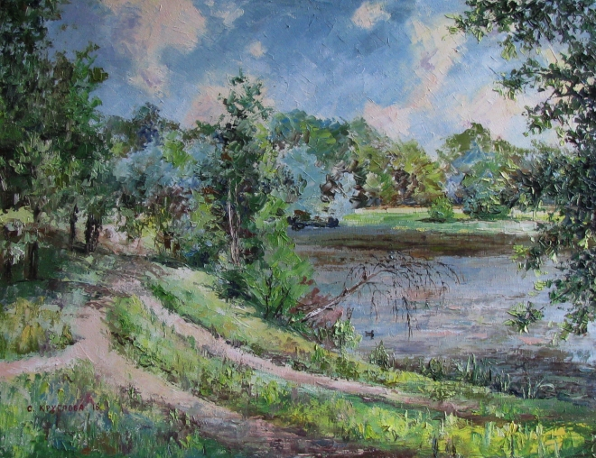 Картина маслом Жаркое лето на Лебедянском пруду
