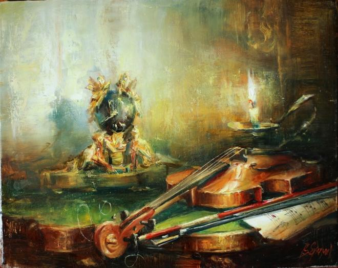 Бронзовые часы со скрипкой