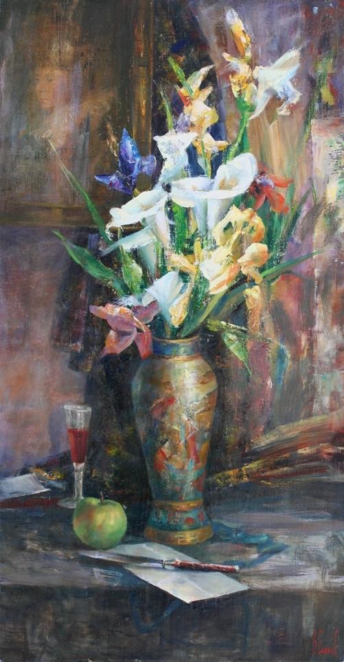 Цветы в китавйской вазе