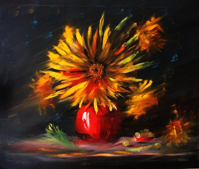 Картина маслом на холсте Цветок Солнца