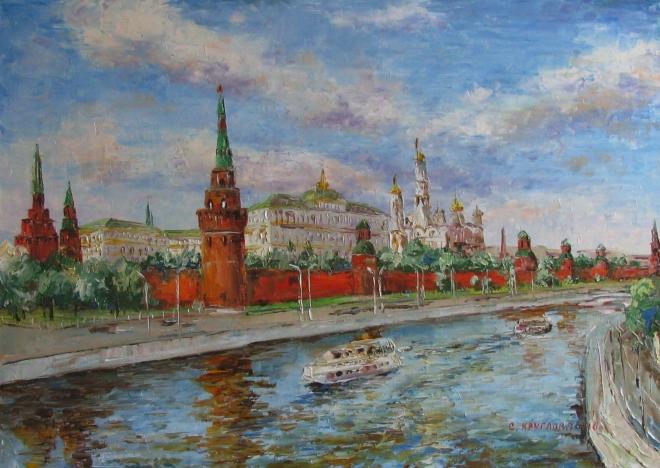 Картина маслом Москва. Речной трамвайчик