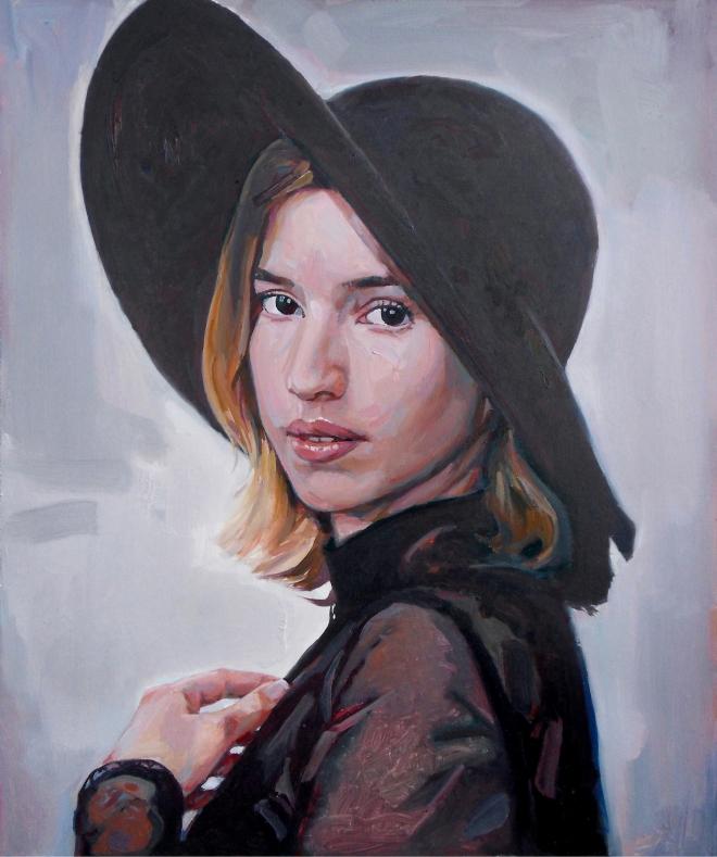 Картина маслом Девушка в фетровой шляпе