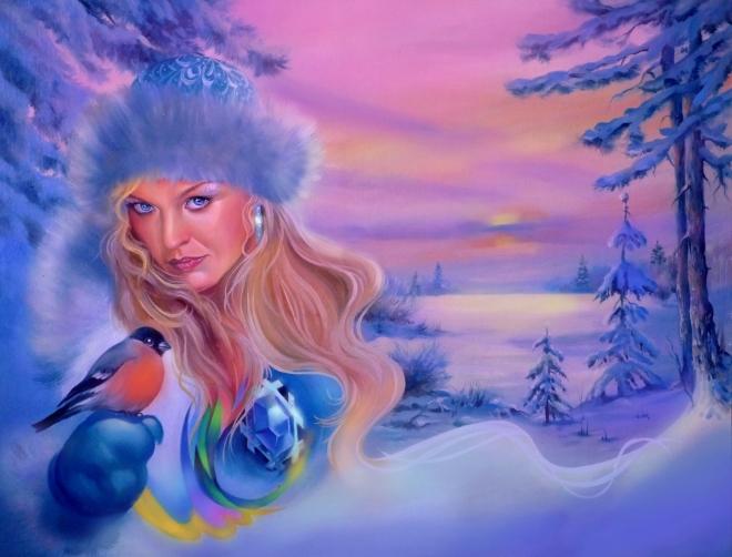 Картина маслом Снегурочка