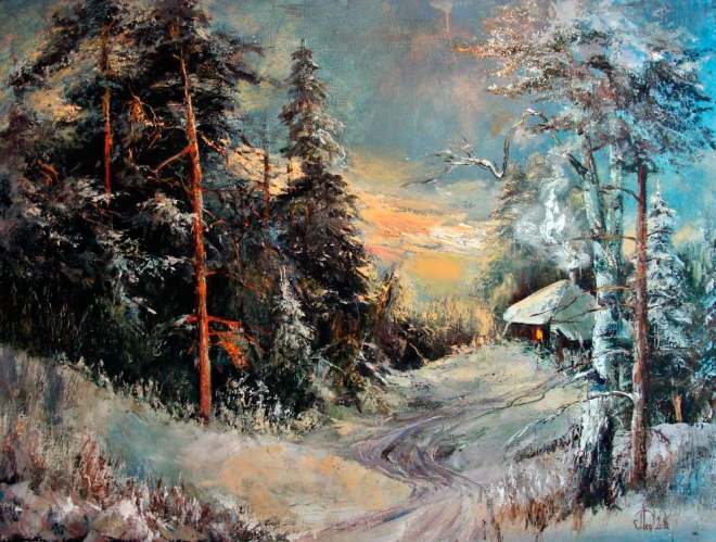 Картина маслом на холсте Зимний лес