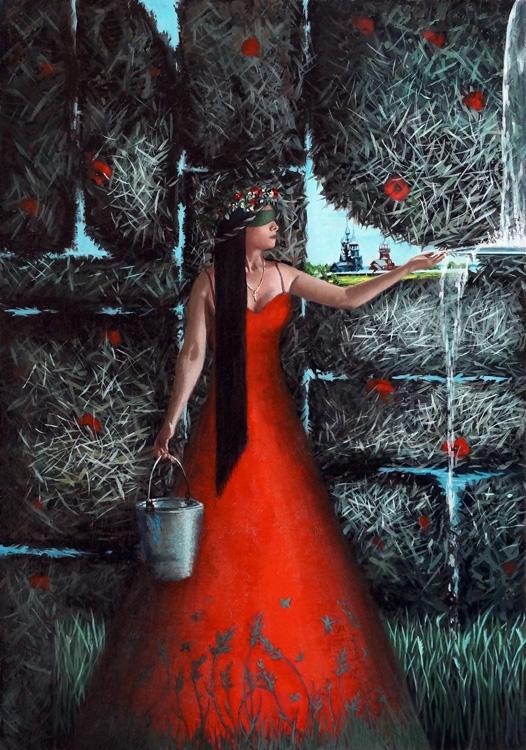 Картина маслом Травница