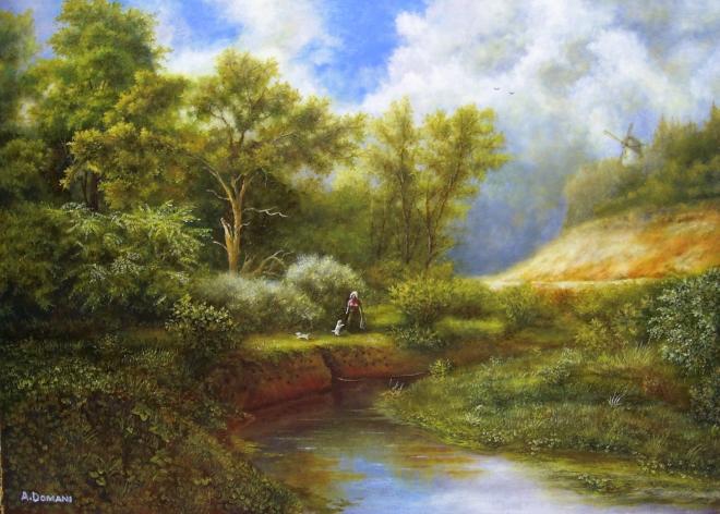 Картина маслом на холсте Пейзаж с собачками
