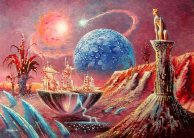 Картина маслом Город.