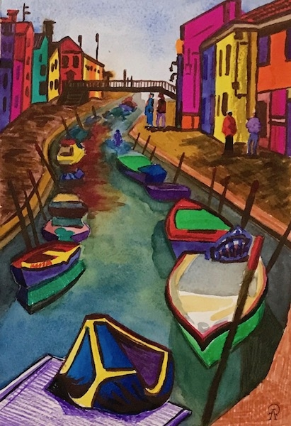 Картина акварелью Венеция. Лодки.