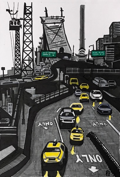 Картина Нью Йорк. Такси.