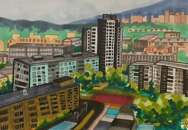 Картина Красноярск. Вид с балкона.
