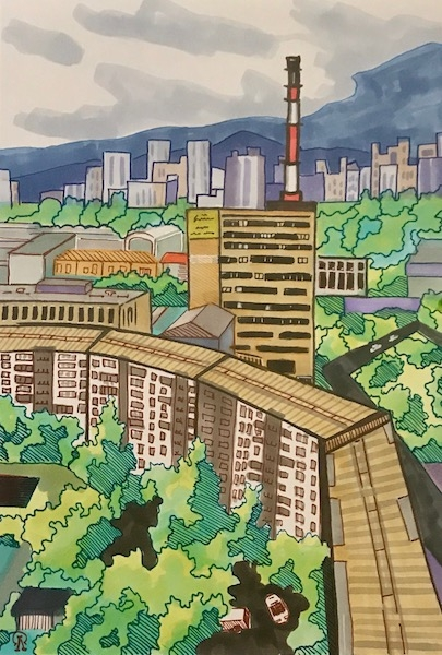 Картина Красноярск. Вид с балкона 2.