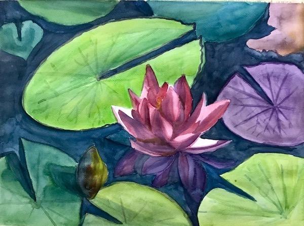 Картина акварелью Кувшинка