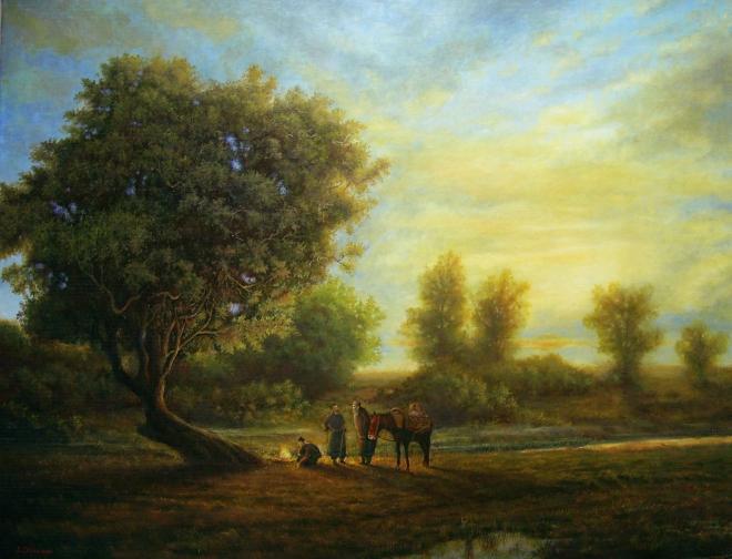 Картина маслом Манит их далекий край, может, степь, а может - Рай