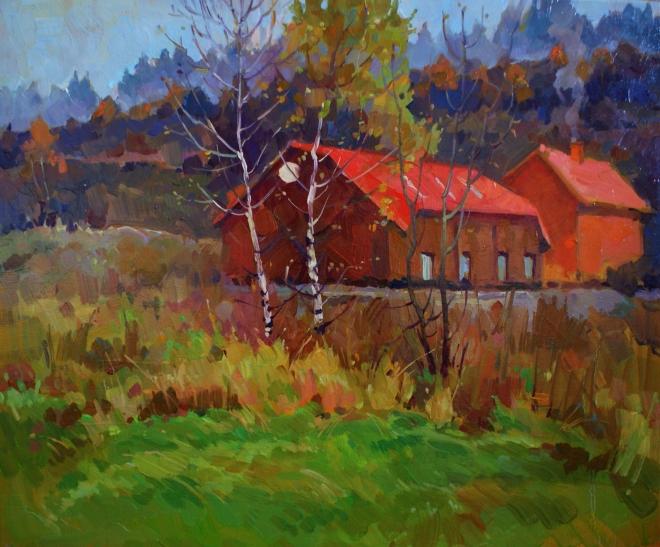 Картина маслом Осень в Карпатах