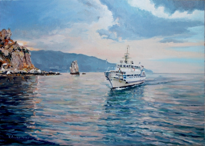 Картина маслом Вечернее море