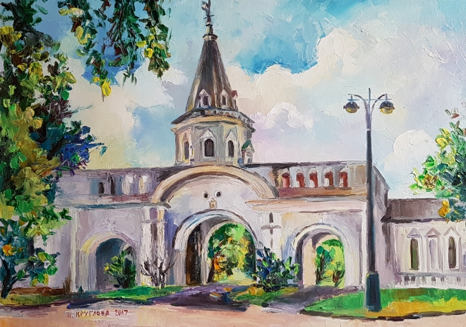 Картина маслом Главные въездные ворота в усадьбе Измайлово