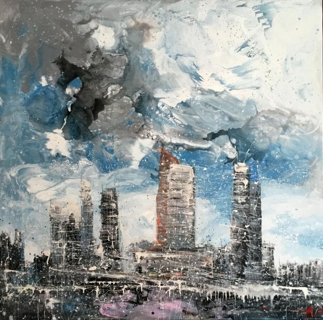 Картина на холсте летели облака