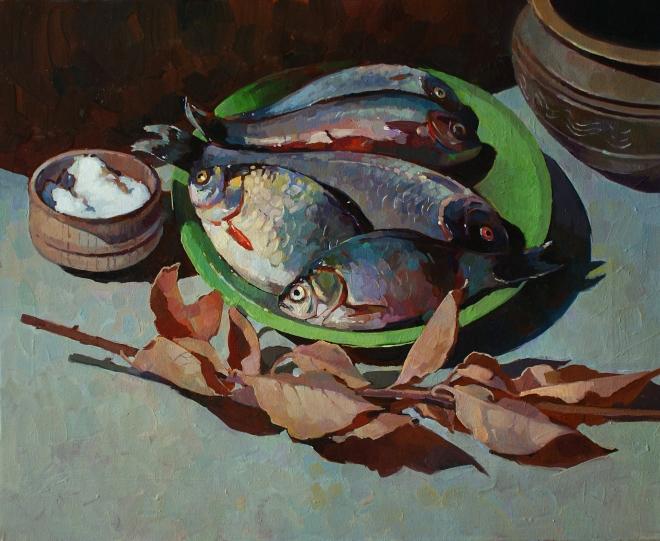 Картина маслом Свежая рыба